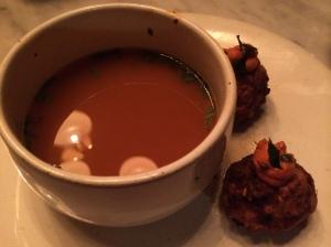 Tomato Soup, Aubergine Dumplings